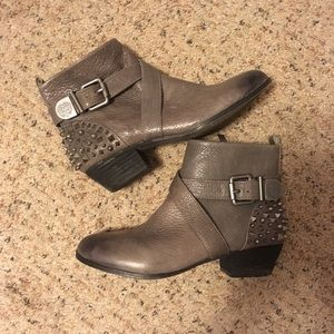 Vince Camuto studded spike buckled ankle booties